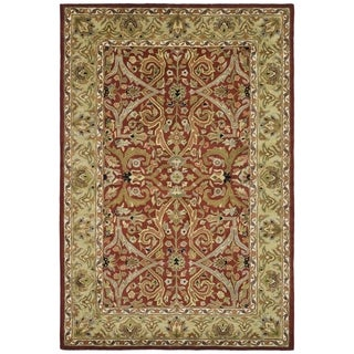 Handmade Heritage Treasures Red/ Gold Wool Rug (8'3 x 11')