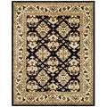 Handmade Heritage Traditions Black/ Ivory Wool Rug (5' x 8')