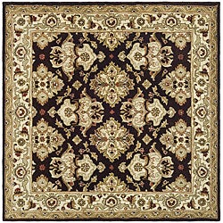 Safavieh Handmade Traditions Dark Mocha/ Ivory Wool Rug (6' Square)