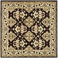 Handmade Traditions Dark Mocha/ Ivory Wool Rug (6' Square)