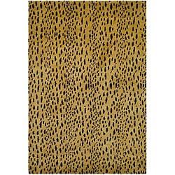 Handmade Soho Leopard Skin Beige New Zealand Wool Rug (7'6 x 9'6)