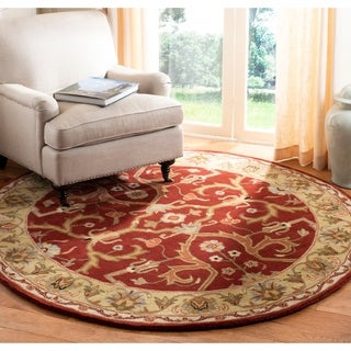 Safavieh Handmade Heritage Treasures Red/ Gold Wool Rug (3'6 Round)