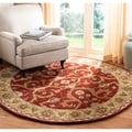 Handmade Heritage Treasures Red/ Gold Wool Rug (3'6 Round)