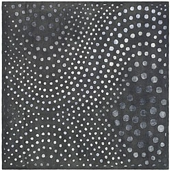 Handmade Soho Deco Wave Dark Grey N. Z. Wool Rug (6' Square)