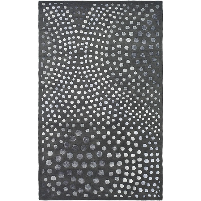 Safavieh Handmade Soho Deco Wave Dark Grey N. Z. Wool Rug (7'6 x 9'6)