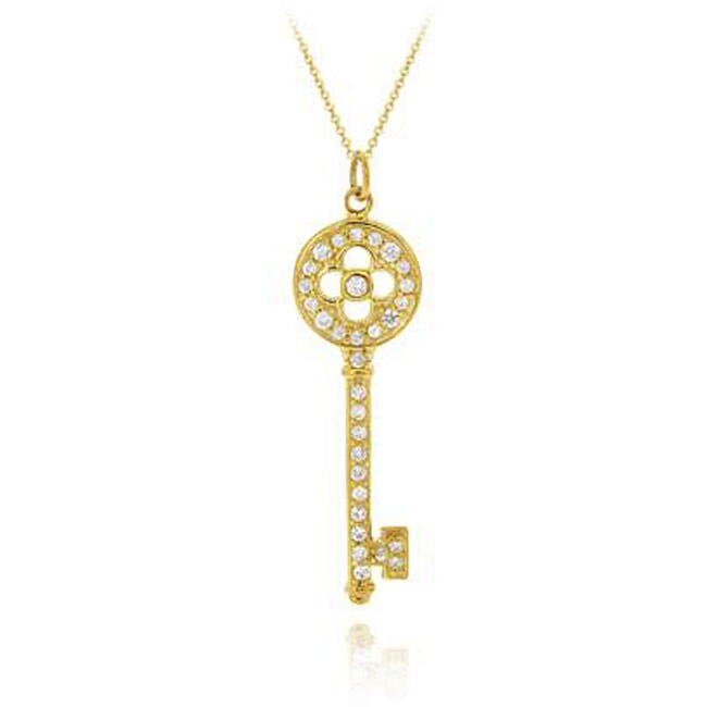 Icz Stonez 18k Gold over Sterling Silver Cubic Zirconia Key Necklace