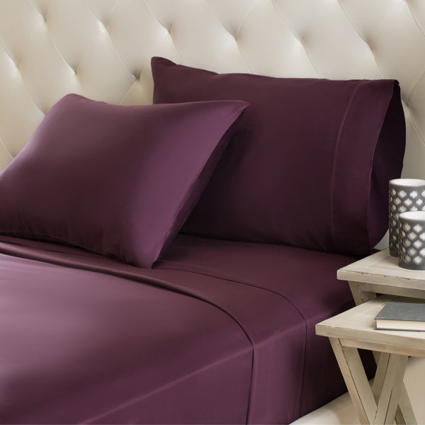 Luxor Treasures Egyptian Cotton Sateen 300-Thread-Count Machine-Washable Solid Sheet Set