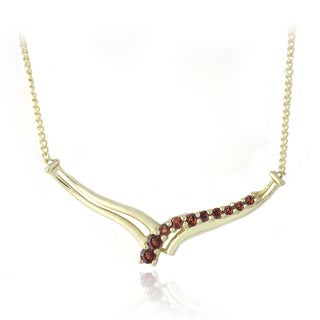 Glitzy Rocks 18k Goldplated Sterling Silver Garnet V-style Necklace