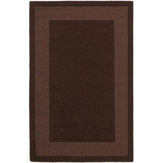 Hand-tufted Chocolate Border Wool Rug (4' x 6')