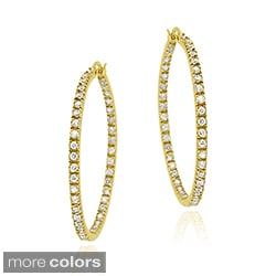 Icz Stonez Gold over Silver Cubic Zirconia Inside-out Hoop Earrings