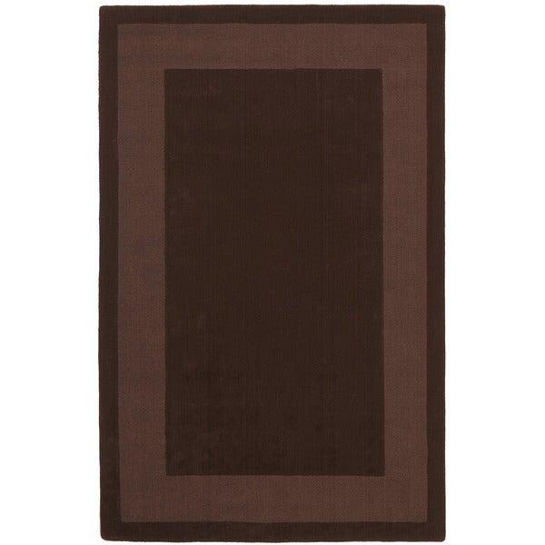 Hand-tufted Chocolate Border Wool Rug (5' x 8')