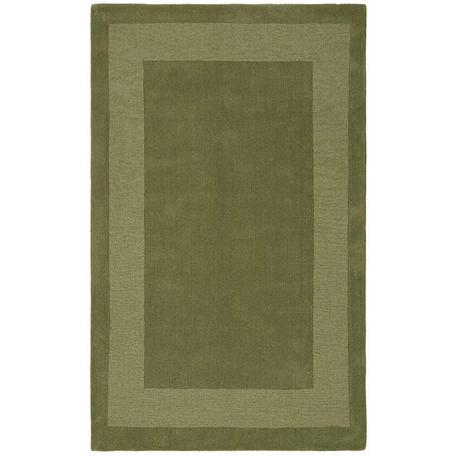 Hand-tufted Moss Green Border Wool Rug (5' x 8')
