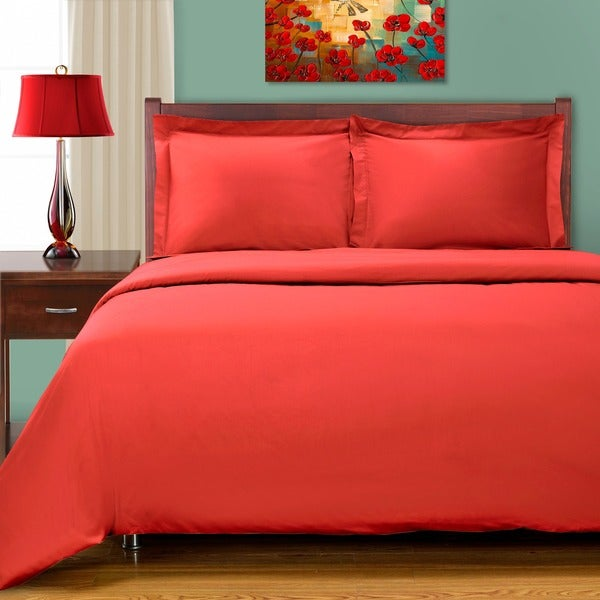 Egyptian Cotton 300 Thread Count Solid Sateen Finish Solid 3-piece Duvet Set