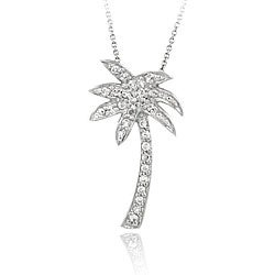 Icz Stonez Sterling Silver Cubic Zirconia Palm Tree Necklace