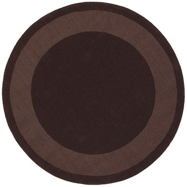 Handmade Chocolate Border Rug (6' Round)