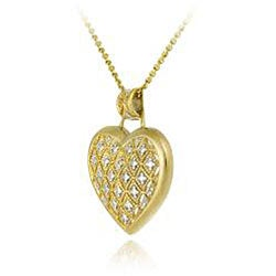DB Designs 18k Goldplated Sterling Silver Champaign Diamond Heart Necklace