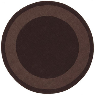 Handmade Chocolate Border Rug (8' Round)