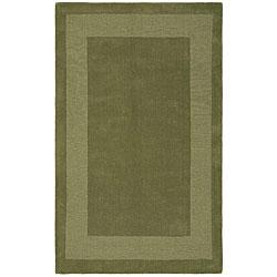 Handmade Moss Green Border Rug (8' x 10')
