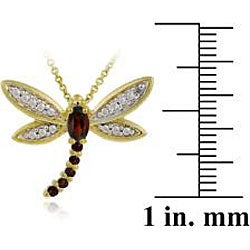 Glitzy Rocks 18k Goldplated Silver Garnet/ Sapphire/ Diamond Dragonfly Necklace