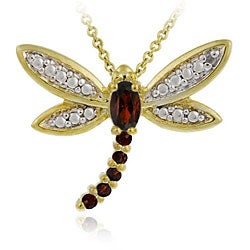Glitzy Rocks 18k Goldplated Silver Garnet/ Sapphire/ Diamond Dragonfly Necklace