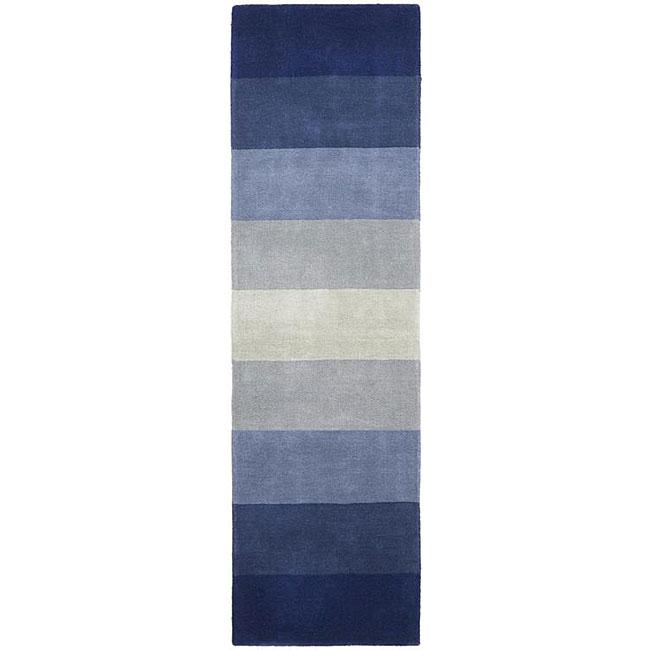 Hand-tufted Blue Stripes Runner (2'6 x 12')