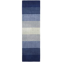 Hand-tufted Blue Stripes Runner Rug (2'6 x 8')