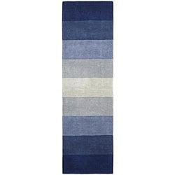 Hand-tufted Blue Stripes Runner Rug (2'6 x 8')