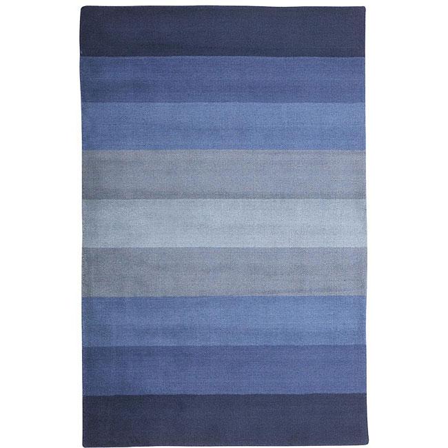 Hand-tufted Blue Stripes Wool Rug (4' x 6')