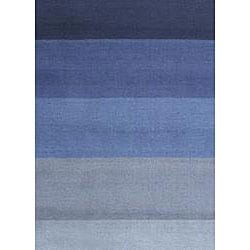 Hand-tufted Blue Stripes Wool Rug (4' x 6')