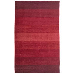 Hand-tufted Red Stripes Wool Rug (4' x 6')