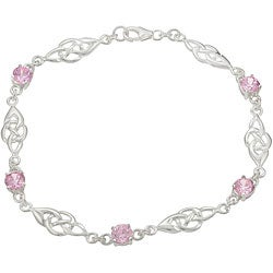 Journee Collection Sterling Silver Pink Cubic Zirconia Celtic Knot Bracelet
