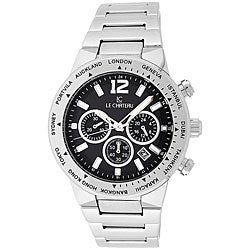 Le Chateau Cautiva Men's Black-Dial All-Steel Chronograph Watch