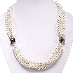 Silver Pearl 3-strand Necklace (Thailand) (6-7 mm)