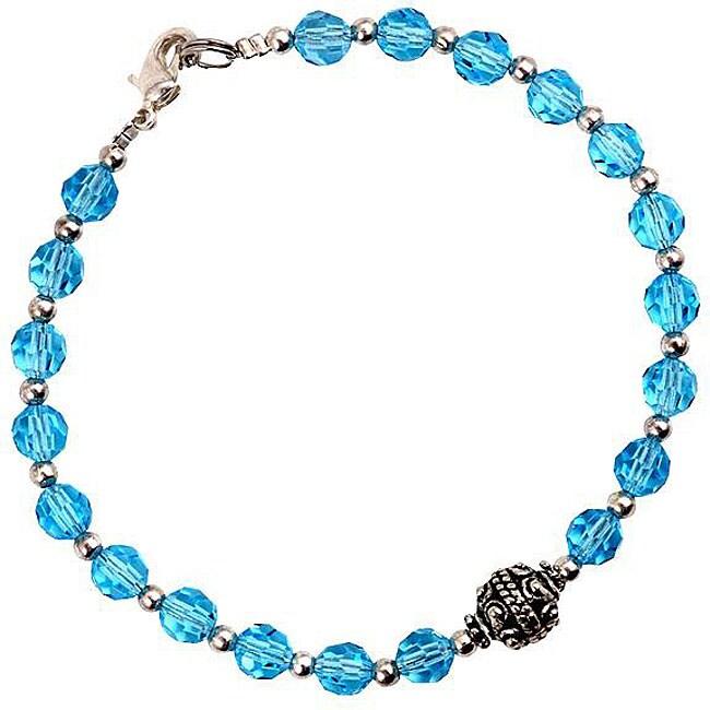 Silver Faceted Sky Blue Glass Bracelet (Thailand)