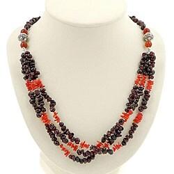 Garnet, Coral Silver 3-strand Necklace (Thailand)