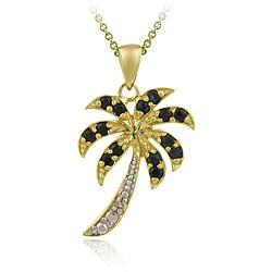 Glitzy Rocks 18k Gold over Silver Sapphire and Diamond Palm Tree Necklace