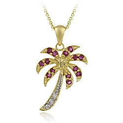 Glitzy Rocks 18k Gold over Silver Ruby and Diamond Palm Tree Necklace