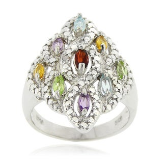 Glitzy Rocks Sterling Silver Multi-gemstone and Diamond Accent Ring