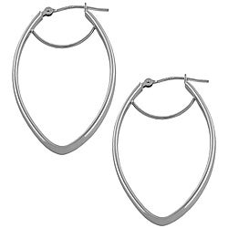 Fremada 14k White Gold Polished Diamond-shaped Hoop Earrings