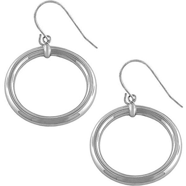 Fremada 14k White Gold Polished Ring Drop Earrings