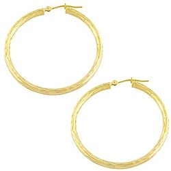 Fremada 14k Yellow Gold Diamond-cut Round Hoop Earrings