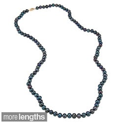 DaVonna 14k 6.5-7mm Black Freshwater Cultured Pearl Strand Necklace (16-36 inches)
