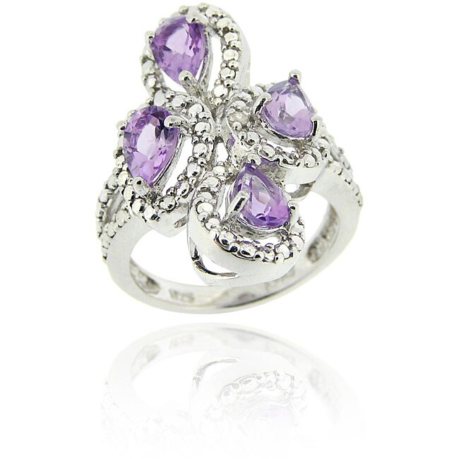 Glitzy Rocks Sterling Silver Amethyst and Diamond Accent Ring