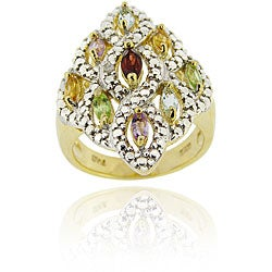 Glitzy Rocks 18k Gold over Silver Multi-gemstone and Diamond Accent Ring