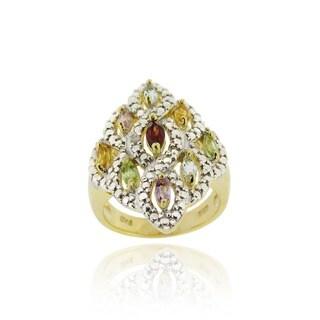 Glitzy Rocks 18k Gold over Silver Multi-gemstone and Diamond Accent Ring