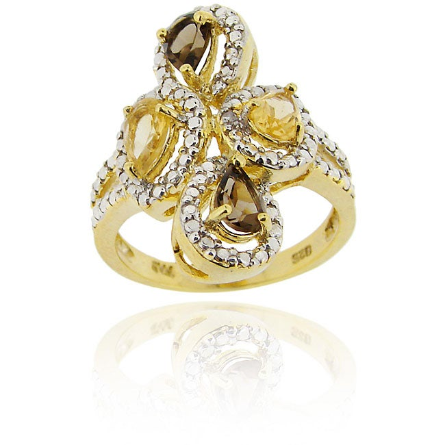Glitzy Rocks 18k Gold over Silver Multi-gemstone and Round-cut Diamond Accent Ring