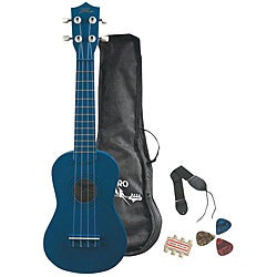 Pyle Blue Ukulele Starter Package for Beginners