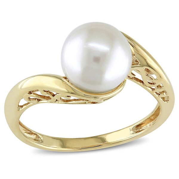 miadora 10k yellow gold cultured freshwater pearl ring 8