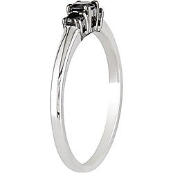 Miadora 10k White Gold 1/4ct TDW Black Diamond Three Stone Ring