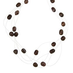 Kabella Sterling Silver Chocolate Freshwater Pearl Fishline Necklace (8-9 mm)